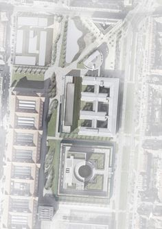 Glazed Software Factory Winning Proposal / HENN Site Plan- Highlight building with white fog