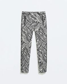 PRINT TROUSERS WITH CONTRAST PIPING from Zara