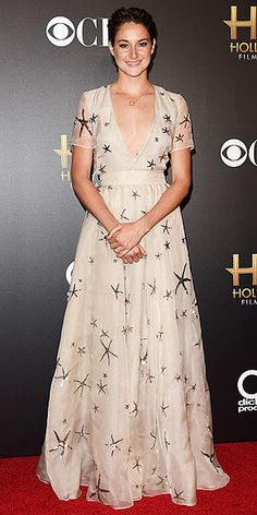 Red Carpet Style at the Hollywood Film Awards | SHAILENE WOODLEY | How did you spend your last day as a 22-year-old? Probably not like Shailene, who gets the celebration started by accepting an award while wearing a plunging (no, really, plunging) gown covered in – yep, that's right – starfish, plus slicked-back hair.