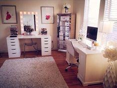Closet vanity room home office vanity dream room makeup room makeup beauty room home furnitures for . My New Room, My Room, Girls Bedroom, Bedroom Decor, Bedroom Ideas, Decor Room, Trendy Bedroom, Vanity Room, Vanity Desk