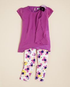 DKNY Infant Girls' Orchid Ruffle Top & Legging Set
