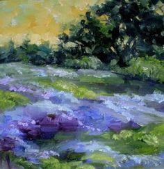 Texas Bluebonnet Dusk Flower Landscape Painting, original painting by artist Nancy Medina | DailyPainters.com
