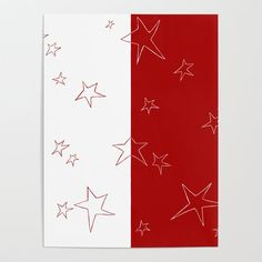 Stars - Red and White Poster
