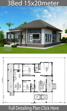 Home design plan with 3 Bedrooms . - Home design plan with 3 BedroomsHouse description:One Car Parking and gardenGround Level: Liv - Simple Bungalow House Designs, Modern Bungalow House, Simple House Design, Bungalow Floor Plans, Home Design Floor Plans, Home Building Design, Plan Design, Building Plans, House Layout Plans