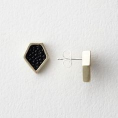 Collette Ishiyama Stingray Diamond Studs | Women's Jewelry | Steven Alan; leather and gold tone brass; pentagon like; upside down pentagon cool stud