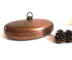 French vintage copper bed warmer Hot water bottle by CabArtVintage, $60.00