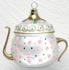 Pink Roses teapot shape Christmas tree ornament decorated with pink roses and green dots on silver white body