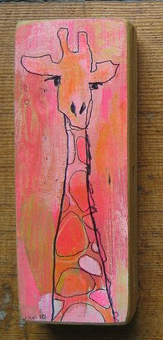 4x1.5in Acrylic paint, colored pencil and ball point pen on wood scraps!  Available at Tilde www.tildeshop.com