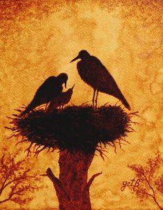 Stork Painting - Sunset Stork Family Silhouettes by Georgeta Blanaru Silhouette Artist, Silhouette Painting, Sunset Silhouette, Coffee Artwork, Coffee Painting, Animal Drawings, Art Drawings, Tea Art, Krishna Art