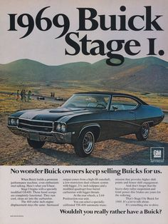 1969 Buick GS400 Stage I Classic Car Photo Ad by AdVintageCom