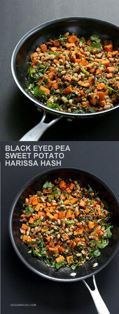 Black Eyed Pea + Sweet Potato Hash with Harissa Spice. #Vegan #Glutenfree #Soyfree