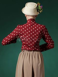 Blusa de algodão vermelho com bolinhas impressão babados para as mulheres-No.5