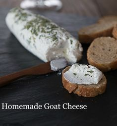 How to make goat cheese or chevre: An easy and delicious recipe you can make at home. Ready in two hours or less. Great on toast or salads. No goat required! How to Make Goat Cheese Recipe - Chèvre Cristl Meaker cristlamber Cheese recipes How to ma Goat Milk Recipes, Goat Cheese Recipes, Herb Recipes, Cooking Recipes, Snack Recipes, How To Make Cheese, Food To Make, Making Cheese, Charcuterie