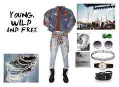 """""""Young Wild Free"""" by angeladesantis ❤ liked on Polyvore featuring Dr. Martens, Spitfire, Monki, R13, Sif Jakobs Jewellery and Frédérique Constant"""
