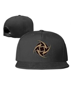 Black Adult Cool CSGO Team Ninjas In Pyjamas Logo Flat Brim Hat Black