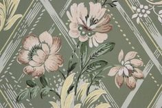 Beige and Yellow Flowers on Green Vintage Wallpaper