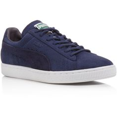 Puma Suede Classic Winterized Sneakers ($65) ❤ liked on Polyvore featuring shoes, sneakers, peacoat blue, blue sneakers, puma trainers, puma shoes, puma sneakers and blue shoes