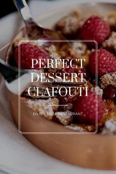 Delicious dessert from TUYA Restaurant Menu. Raspberry and Nectarine Clafouti. Menu Restaurant, Mediterranean Recipes, Fine Dining, Vienna, Starters, Delicious Desserts, Raspberry, Breakfast, Food