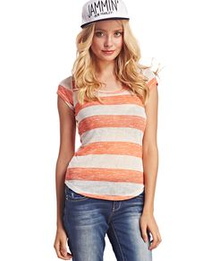 Rugby Striped Slub Tee I Wet Seal #rugbystripes
