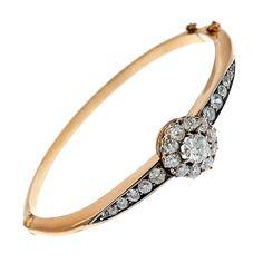 1STDIBS.COM Jewelry & Watches - Antique Diamond Cluster Bangle Bracelet - Fourtane