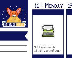 Typewriter Icon: Writing or Blogging Planner Stickers