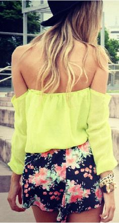 Flower skirt & off the shoulder yellow top <3
