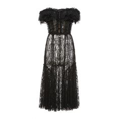Dolce & Gabbana     Ruffled Lace Off-the-Shoulder Dress (154 490 UAH) ❤ liked on Polyvore featuring dresses, dolce & gabbana, lace, black, off the shoulder ruffle dress, off-the-shoulder lace dresses, lace cocktail dress, a line cocktail dress and midi dress