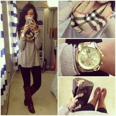 0bdf5b8c7b91 Shirt: H Scarf: Burberry Leggings: Loft Boots: Nordstrom Bag: LV Watch