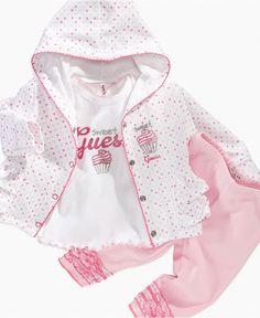 GUESS Baby Set, Baby Girls 3 Piece Cupcake Hoodie Set - Kids - Macy's