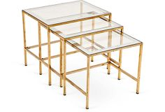 French Vintage Brass Nesting Tables II on OneKingsLane.com  Sold but would be good on a sun porch or in a room with a light and airy feel.  Might be too flashy otherwise
