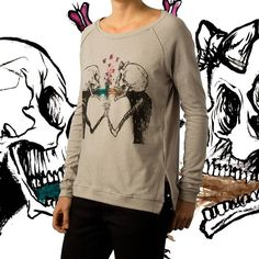 Vomit Love Women's Pullover by Alex Pardee - also available on Men's T-Shirt and Hoodie. Admit it: love is gross. But if you're lucky enough to love someone so much that you'd clean up their puke this one is for you. @alexpardee #alexpardee #shopUP #UpperPlayground #love