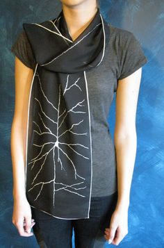 Pyramidal Neuron Silk Chiffon Scarf Black by artologica on Etsy Beautiful Mind, Rolled Hem, Silk Chiffon, Black Silk, Alexander Mcqueen Scarf, High Neck Dress, Lady, My Style, Fabric