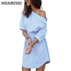 Fashion one shoulder Blue striped women shirt dress Sexy side split Elegant half  sleeve waistband Casual 80082fcbf