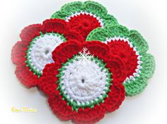 Crochet Flowers ref X176 by mariamanuel on Etsy