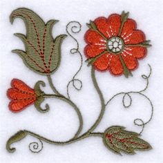 Jacobean Red Flower embroidery design - machine embroidered and for sale.  This simple design could be hand worked once the pattern is bought.