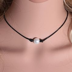2016 New Fashion Black Wax Rope Women Choker Necklace White Perfect Imitation Pearl choker necklace Pearl Jewelry