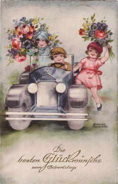 Post Card Hannes Peterson Art Children In Auto