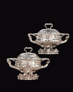 A PAIR OF GEORGE IV SILVER SOUP TUREENS FROM THE SAMPAIO SERVICE MAKER'S MARK OF PAUL STORR, LONDON, 1823 Price realised USD 266,500 Estimate USD 200,000 - USD 300,000