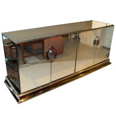 a chrome and mirrored 4 door credenza by ello c 1970s cadenza furniture