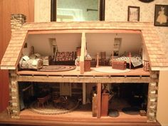 """Handcrafted Log cabin Dollhouse Collectable Furnished-Artisan accessories 1""""-1' #customdesigned"""