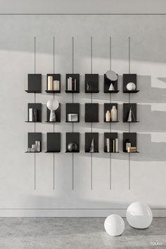 Latest Wall Decor Shelving Design, Shelf Design, Cabinet Design, Wall Design, House Design, Luxury Modern Homes, Boffi, Cafe Interior, Apartment Interior