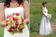 Gorgeous wedding bouquets and dresses