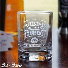 Barware - Bourbon Label Engraved Whiskey/Rocks Glass