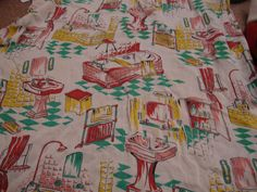 Bathroom fabric - my bathroom curtains! - vintage