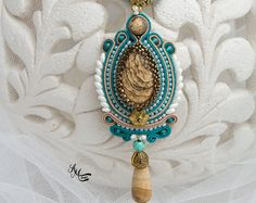 Soutache collar azul Beige color Soutache por AMdesignSoutache