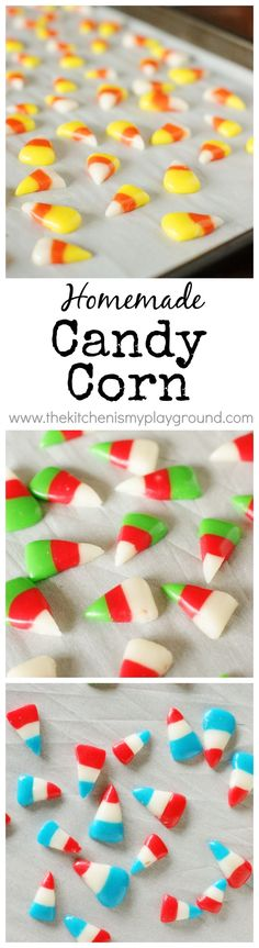 Homemade Candy Corn ~ make it in any colors for any occasion! Red, white, & green would be PERFECT for Christmas. http://www.thekitchenismyplayground.com