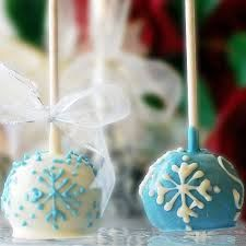 Cake pops with snow flake designs