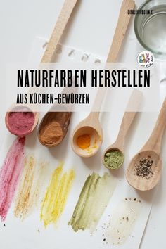 Make natural colors from spices-Naturfarben aus Gewürzen herstellen You already have the most beautiful colors in your kitchen! Here I reveal how you can create wonderful, stimulating and sensual colors yourself. PLUS DIY ideas for the whole family - Kindergarten Art Projects, Natural Cosmetics, Eating Habits, At Home Workouts, Spices, Health, Creative, Nature, How To Make