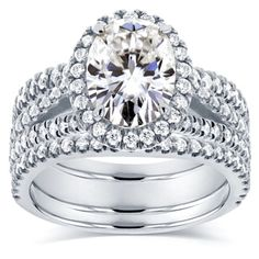 Annello by Kobelli 14k White Gold 2 2/5ct TCW Oval Moissanite and Diamond Halo 3-piece Bridal Rings #kobelli