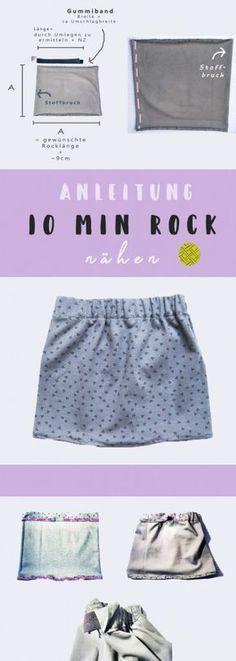 Rock nähen in 10 Minuten - Das Quadrat Schnittmuster